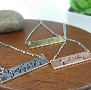 """You got this "" Bar Charm Silver Tone Neck…"